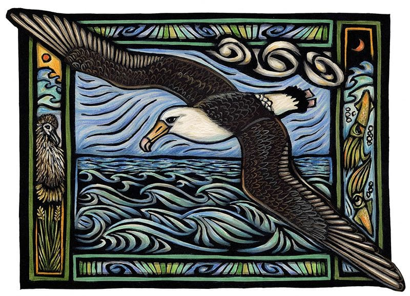 This art is a hand-colored block print. A bird flies over churning waves.