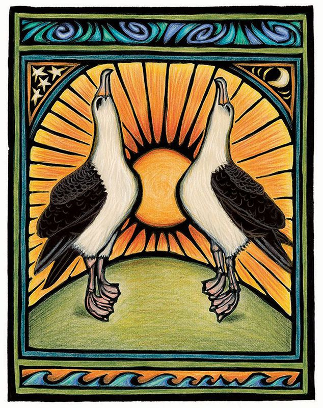 This art is a hand-colored block print. Two albatrosses stretch their necks up to the sky as part of a mating dance.