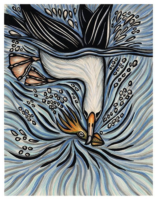 This art is a hand-colored block print. An albatross splahes into the water and catches a squid in its mouth.
