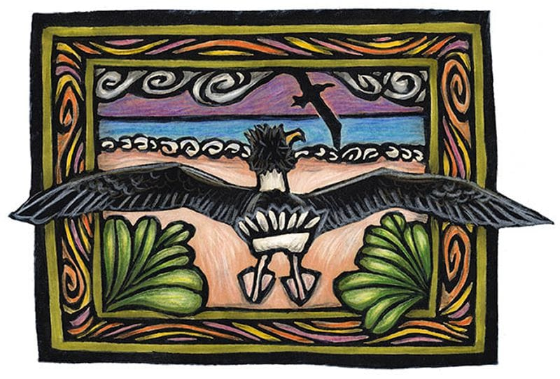 This art is a hand-colored block print. A bird stands on the beach with wings outstretched, watching another bird take off and fly.