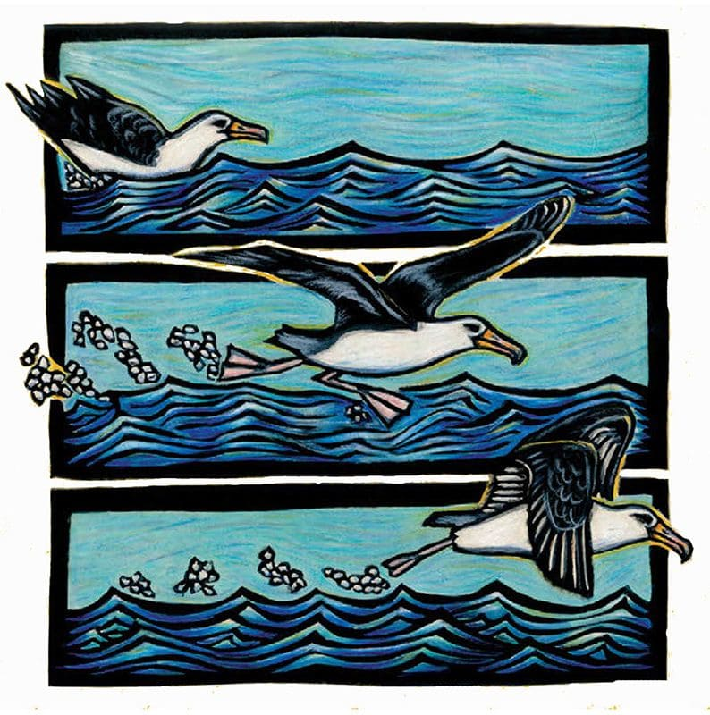 This art is a hand-colored block print. In three panels, a bird uses its wings to lift off from the water and begin flying.