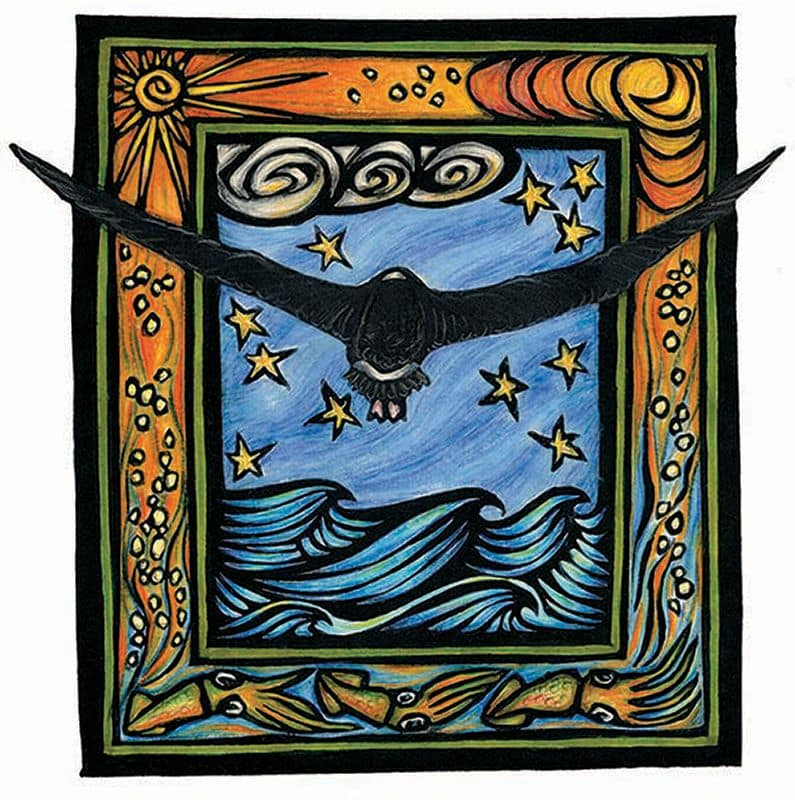 This art is a hand-colored block print. A bird has its wings outstretched as it flies into the night sky. Waves move below the bird.