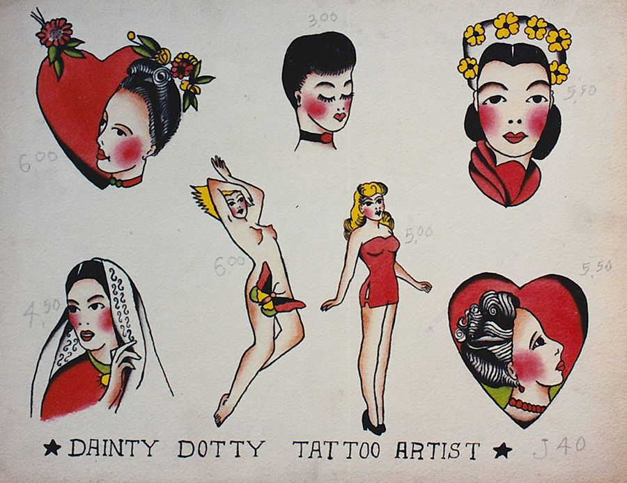 """A sheet of paper shows 7 drawings of women from which customers could choose to get tattooed. At the bottom, the words """"Dainty Dotty Tattoo Artist"""" are listed. Different prices are marked next to each image, ranging from $3 to $6."""