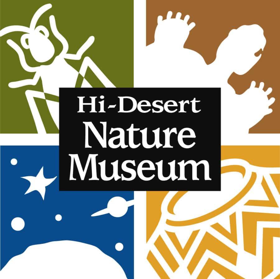 "The Hi-Desert Nature Museum logo, consisting of four colorful blocks and the name ""Hi-Desert Nature Museum."""