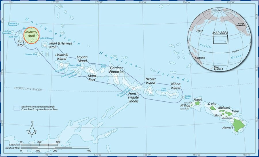 A map shows where Midway Atoll is located in the Hawaiian Archipelago.