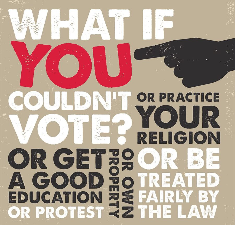 """A graphic asking """"What if YOU couldn't vote? Or get a good education? Or protest? Or own property? Or practice your religion? Or be trated fairly by the law?"""