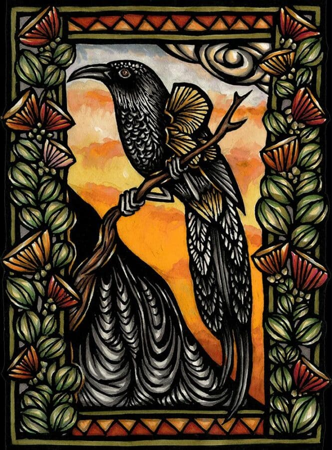This artwork is a hand-colored block print. A black bird, an Hawaiian 'O'o, sits on a tree branch.
