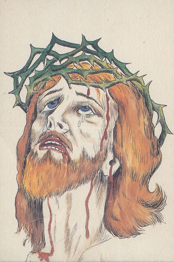A color drawing depicts Jesus Christ wearing a crown of thorns and looking up to the sky.