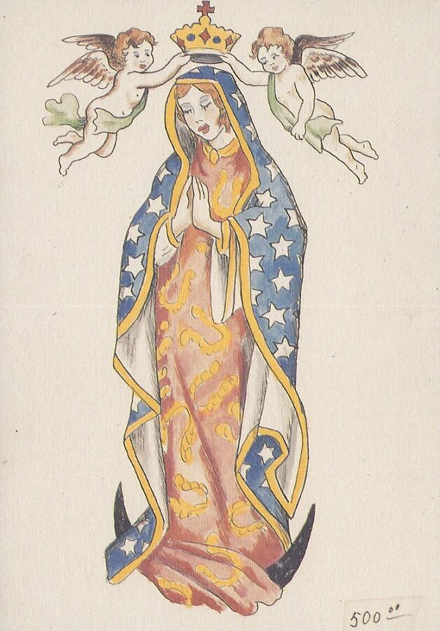 A color drawing depicts the Virgin Mary praying. Two cherubs are placing a crown on her head.