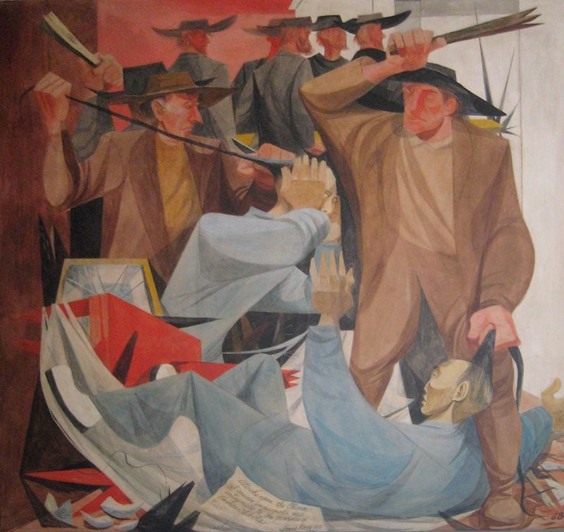 A painted mural depicts two white men pulling on the hair of Asian men after destroying their property.