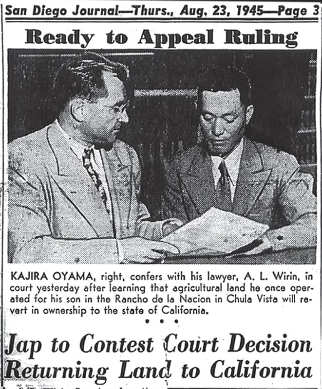 A newspaper clipping shows a Japanese man and a white man looking at a piece of paper.