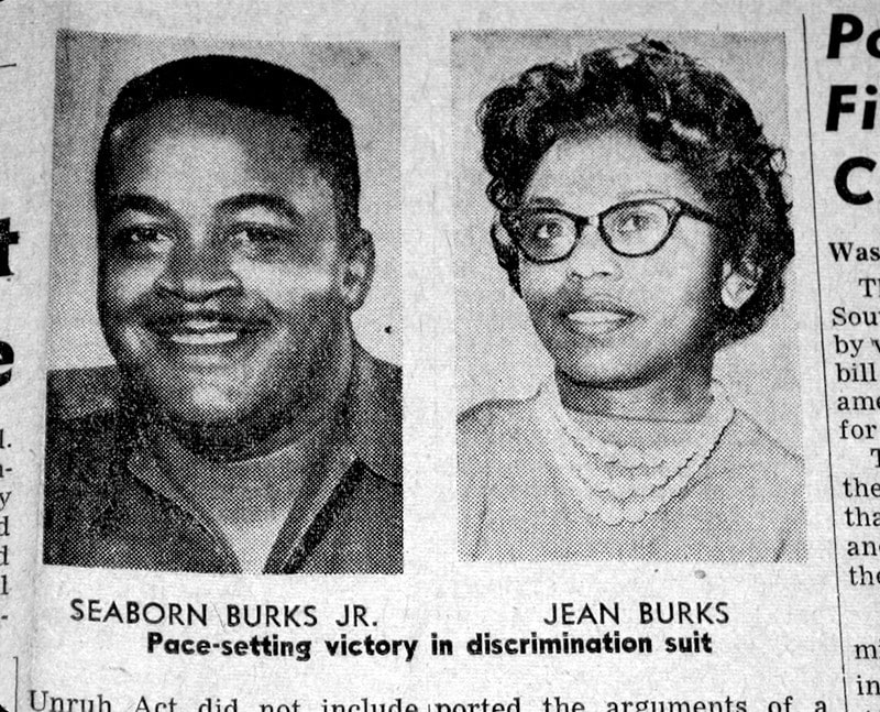 A newspaper article with the photographs of a Black man and Black woman.
